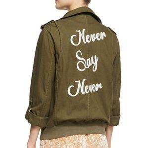 Alice & Olivia never cargo military jacket green m